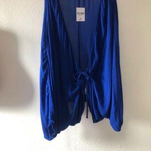 Plus size blue cardigan